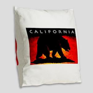 California Bear Burlap Throw Pillow