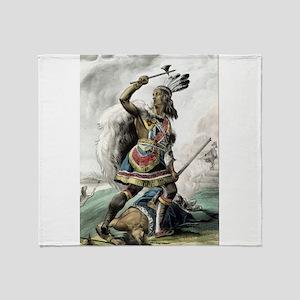 The Indian warrior - 1845 Throw Blanket
