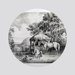 The glimpse of the homestead - 1859 Round Ornament