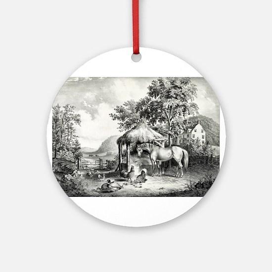The glimpse of the homestead - 1859 Round Ornament