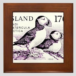 1980 Iceland Atlantic Puffins Postage Stamp Framed