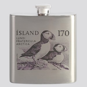 1980 Iceland Atlantic Puffins Postage Stamp Flask