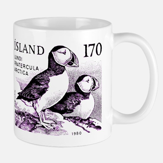 1980 Iceland Atlantic Puffins Postage Stamp Mugs