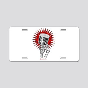Rockabilly Microphone Aluminum License Plate