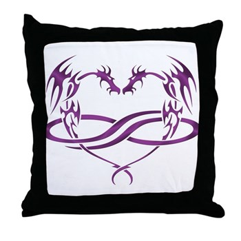 Purple Polydragon Throw Pillow