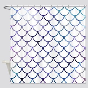 Abstract Purple and White Fish Scal Shower Curtain