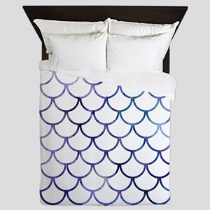 Abstract Purple and White Fish Scales Queen Duvet