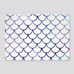 Abstract Purple and White Fish Scal 5'x7'Area Rug