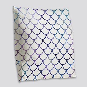 Abstract Purple and White Fish Burlap Throw Pillow