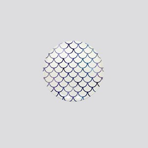 Abstract Purple and White Fish Scales Mini Button