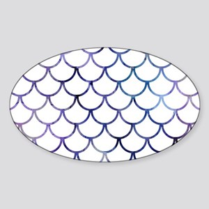 Abstract Purple and White Fish Scal Sticker (Oval)