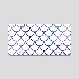 Abstract Purple and White F Aluminum License Plate