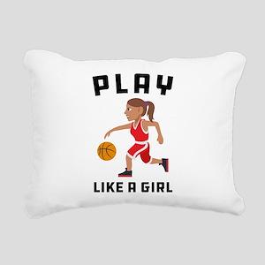 Emoji Play Like a Girl Rectangular Canvas Pillow
