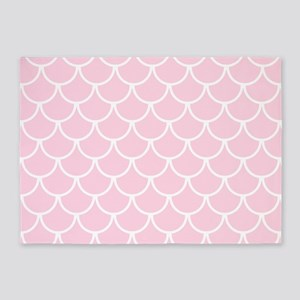 Baby Pink Fish Scales Pattern 5'x7'Area Rug