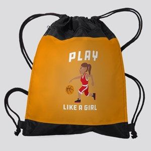 Emoji Play Like a Girl Drawstring Bag