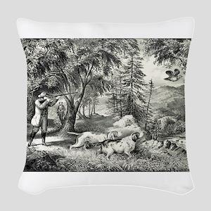 Partridge shooting - 1865 Woven Throw Pillow