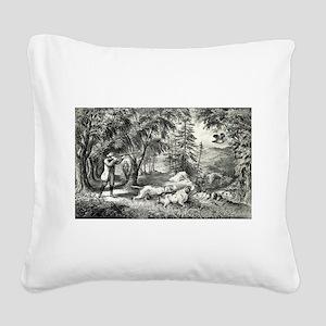 Partridge shooting - 1865 Square Canvas Pillow
