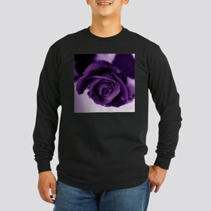 Purple Rose Long Sleeve Dark T-Shirt