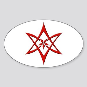 Red Curved Unicursal Hexagram Oval Sticker