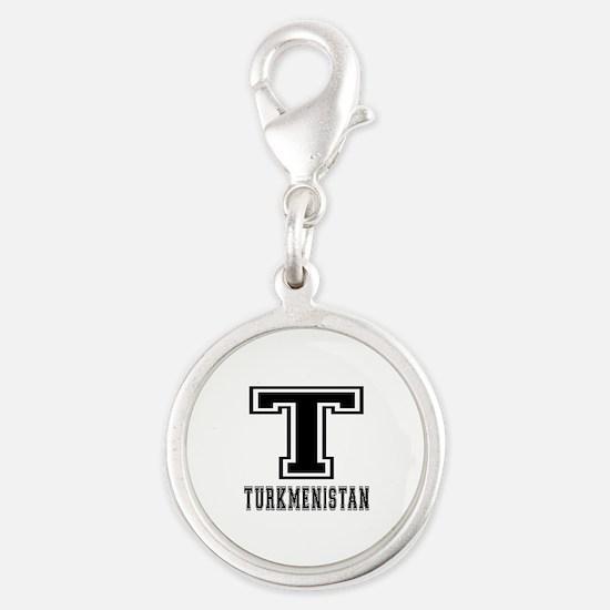 Turkmenistan Designs Silver Round Charm