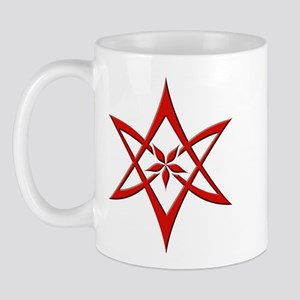 Red Curved Unicursal Hexagram Mug