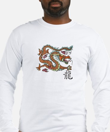 Long Sleeve T-Shirt with Asian style dragon