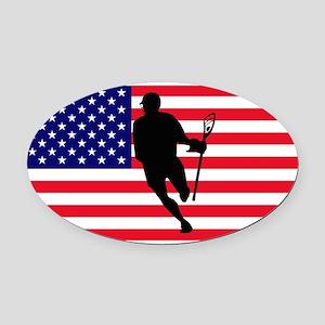 Lacrosse_IRock_America Oval Car Magnet
