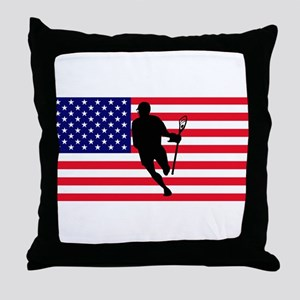 Lacrosse_IRock_America Throw Pillow