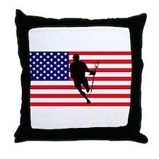 Lacrosse_IRock_America Throw Pillow