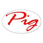 Pig Oval Sticker