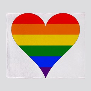 rainbow heart Throw Blanket