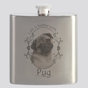 Lifes Better Pug Flask
