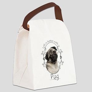 Lifes Better Pug Canvas Lunch Bag