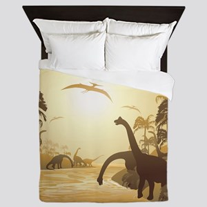 Dinosaurs on Tropical Jurassic Landscape Queen Duv