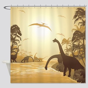 Dinosaurs on Tropical Jurassic Landscape Shower Cu