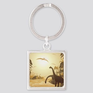 Dinosaurs on Tropical Jurassic Landscape Keychains