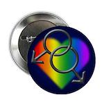 """Gay Pride Rainbow Love 2.25"""" Button"""