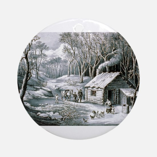 Home in the wilderness - 1870 Round Ornament