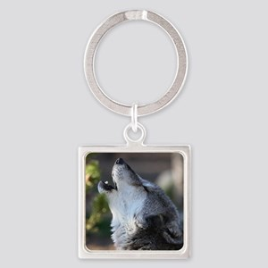 wolf howling Square Keychain