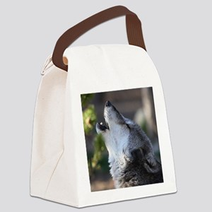 wolf howling Canvas Lunch Bag