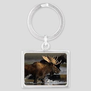 moose splashing in the water Landscape Keychain