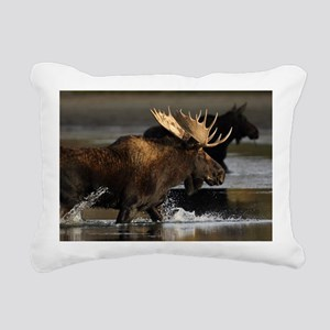 moose splashing in the w Rectangular Canvas Pillow