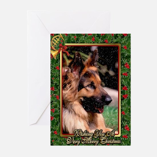 Long Haired German Shepherd Dog Christmas Greeting