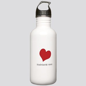 individual text, heart Water Bottle