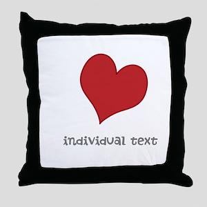 individual text, heart Throw Pillow