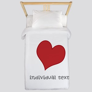 individual text, heart Twin Duvet