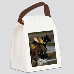 moose splashing in the water Canvas Lunch Bag