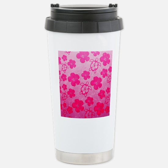 Pink Honu and Hibiscus Travel Mug