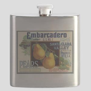 Vintage Fruit Vegetable Crate Label Flask