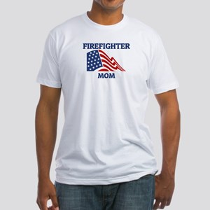 Firefighter MOM (Flag) Fitted T-Shirt
